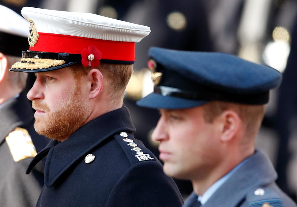 The Duke of Sussex paid his respects, alongside brother Prince William, at the Cenotaph in 2019.