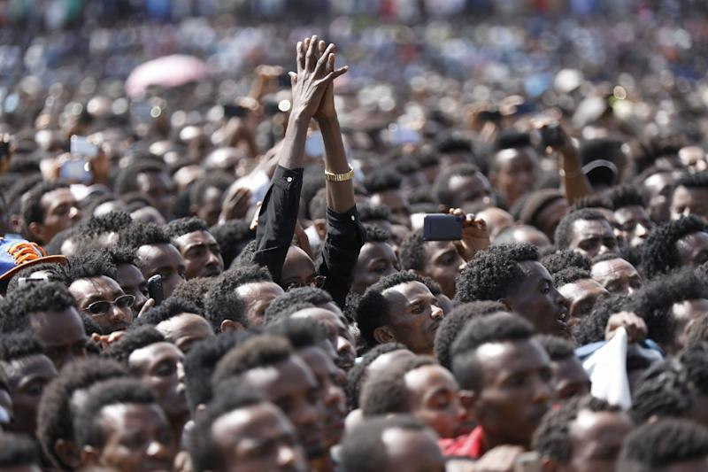 """Addressing the rally in Ambo, west of Addis Ababa, Abiy referred to young Oromo men who led the at-times violent protests and enforced strikes in Oromia as the """"shield of the Oromo people"""" (AFP Photo/Zacharias Abubeker)"""