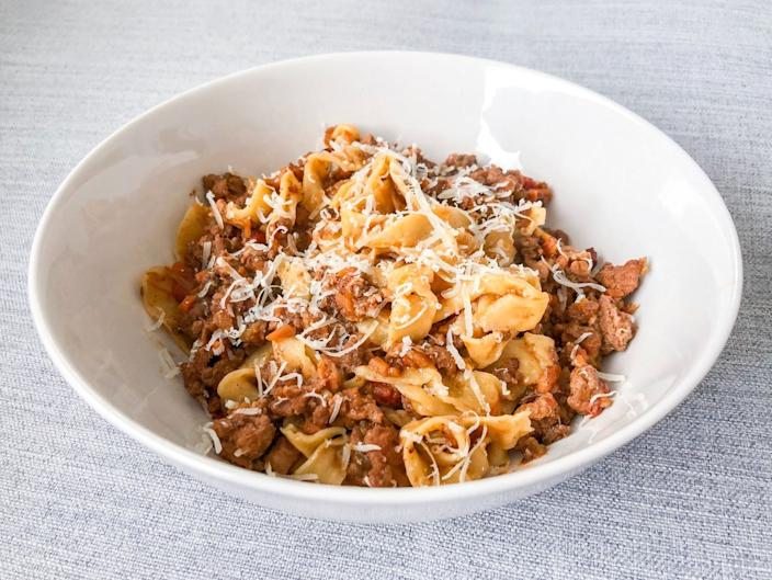 "Tagliatelle tossed in Bolognese from Orso, a pasta-focused takeout service. <span class=""copyright"">(Bill Addison / Los Angeles Times)</span>"