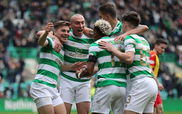 "As Celtic seek their first European home win outside qualifying matches under Brendan Rodgers, their manager warned that Zenit St Petersburg are a stronger team than Anderlecht, who were edged out by his men for a place in the Europa League. The tournament sees Zenit – managed by Roberto Mancini who was formerly in charge of Manchester City – come to the east end of Glasgow on Thursday. Rodgers has guided Celtic to successive Champions League group stage appearances and also into the knockout stage of this season's Europa League, but they have been unable to post a home win in six attempts against Barcelona, Borussia Moenchengladbach, Manchester City, Paris Saint-Germain, Bayern Munich and Anderlecht. Their best group stage performance was the 3-0 victory over Anderlecht in Brussels, but Rodgers' players lost the subsequent encounter at Parkhead to a Jozo Simunovic own goal. Against Zenit, Rodgers would have preferred to play the first leg in Russia. ""Everyone likes the second leg at home. You know what you are playing for then,"" said Rodgers. ""It's not the worst to have the first leg at home. You can try to get some sort of advantage. If you can keep a clean sheet, it gives you a real motivation going away. Brendan Rodgers is excited by the challenge his Celtic team will face in the Europa Cup Credit: Getty Images ""I have looked at Zenit, and they play slightly differently from Manchester City. At Manchester City, Roberto had very much a defensive block with quality players. ""It was 4-2-3-1 or 3-5-2 at times. This team is very clearly 4-3-3. They press the game. It is certainly a change from how his Man City team played. ""Branislav Ivanovic is there, who I worked with at Chelsea. He has gone back out there and is a real linchpin for the team. He has still got good legs and strength and power and experience. ""He is playing as a centre-half. That was his actual position when they brought him in to Chelsea. He ended up playing a lot at right-back and doing really well there. It is a really difficult game for us. They are a very good side."" In other circumstances, Rodgers' CV would have included a spell as Mancini's No 2. ""Roberto had his first season at Manchester City, and I was asked to come and speak to them about maybe going in there to assist and work,"" he said. ""I flew out to Italy to meet him at the end of the season. We had a chat out there, then I came back, and it was a case of the Swansea position coming up, and I think Roberto was probably wanting his own man in as well. It worked out that I went to Swansea and Roberto had David Platt, whom he knew from Sampdoria."" Celtic extended the defence of their treble of domestic honours with a home victory over Partick Thistle in the fifth round of the William Hill Scottish Cup yesterday. In contrast to their performance in the 1-0 defeat by Kilmarnock at Rugby Park the previous weekend, they got off to a racing start with a James Forrest double, the second of which saw the winger run from the halfway line for a right-foot finish beyond goalkeeper Tomas Cerny. Kyle Lafferty celebrated scoring a brace for Hearts 3-0 win over St Johnstone Credit: PA The Jags looked beaten but were revived when Simunovic played an attempted a pass back to Dorus de Vries straight into the path of Kris Doolan, who marked his 350th appearance for Thistle with a first-time left-foot chip over De Vries. When Forrest netted his hat-trick after the break, Celtic looked safe, but Connor Sammon revived Thistle's hopes with a late close-range strike, and it took a tackle by Kieran Tierney and a clutch on the line by De Vries to prevent Ryan Edwards stealing a draw in injury time. Also into the quarter-finals are Hearts, whose 3-0 home win over St Johnstone included a Kyle Lafferty brace, and Kilmarnock, who ended Brora Rangers' progress with a 4-0 win over at Rugby Park. The other Highland League team, Cove Rangers, were beaten 3-1 at home by Falkirk, while in the all-Premiership collision at Dens Park, Dundee lost 2-0 to Motherwell. The remaining tie of the day was at Cappielow, where Morton prevailed against their trans-Clyde rivals, Dumbarton, with goals from Frank Ross, Jack Iredale and Bob McHugh. Today's games see Ayr United at home to Rangers and Aberdeen against Dundee United at Pittodrie, where the quarter-final draw will be made."