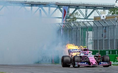 Lance Stroll's Mercedes power unit gives up in final practice - Credit: The Canadian Press