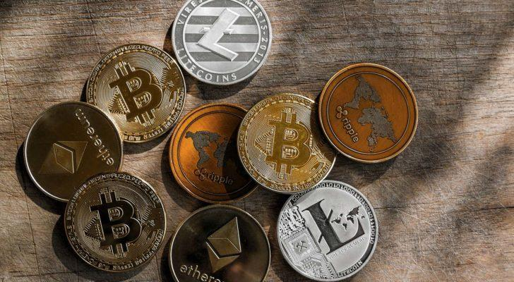 An aerial shot of a group of popular cryptocurrency tokens.