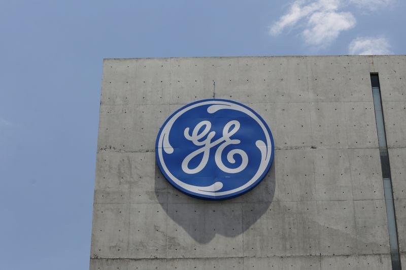 FILE PHOTO: The logo of General Electric Co. is pictured at the Global Operations Center in San Pedro Garza Garcia, neighbouring Monterrey, Mexico, May 12, 2017. REUTERS/Daniel Becerril