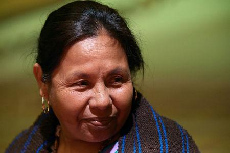 Indigenous presidential independent pre-candidate Maria de Jesus Patricio, 'Marichuy' smiles in a meeting with university students in Mexico City