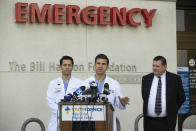 Doctors at Providence Holy Cross Hospital in Mission Hills tell reporters they treated a 15-year-old girl and a 14-year-old girl after Thursday's shooting at Saugus High School in Santa Clarita, during a news conference Friday, Nov. 15, 2019 in Los Angeles. The suspected gunman shot five students, seemingly at random, and then shot himself in the head and remains in critical condition Friday. (AP Photo/Damian Dovarganes)