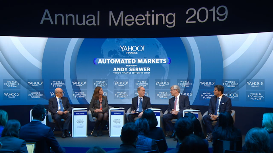 The panel at a Yahoo Finance event on automated markets at Davos 2019. Photo: World Economic Forum