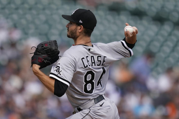Chicago White Sox starting pitcher Dylan Cease throws during the first inning of a baseball game against the Detroit Tigers, Saturday, June 12, 2021, in Detroit. (AP Photo/Carlos Osorio)