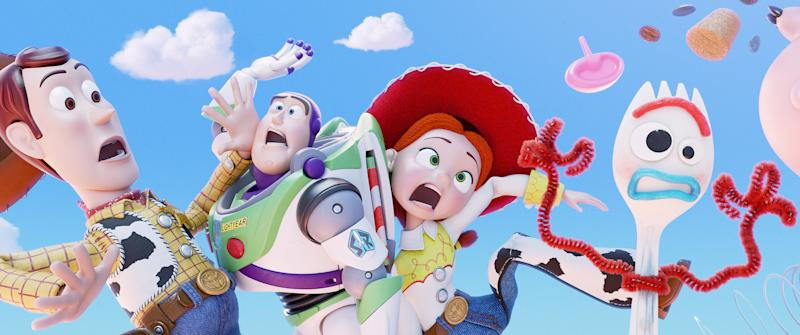 Woody, Buzz and Jessie are joined by Forky (Tony Hale) in 'Toy Story 4' (Photo: Walt Disney Studios Motion Pictures/Courtesy Everett Collection)
