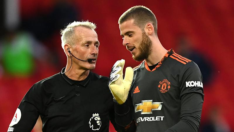 Absolute disgrace' - Man Utd penalty drama as De Gea penalised for moving  off his line & Zaha scores re-take