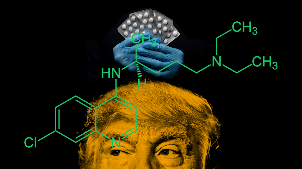 President Trump continues to endorse the anti-malaria drug hydroxychloroquine as a treatment for the coronavirus. Experts are urgin more caution. (Photo Collage: Quinn Lemmers for Yahoo Lifestyle/Getty Images)