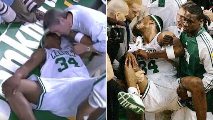 Paul Pierce reacts after hearing a pop in Game 1 of the 2008 NBA Finals. (ABC)