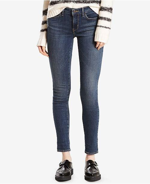 """<p>""""Before I got pregnant, I was sporting my <span>Levi's 711 Skinny Jeans</span> ($70) every other day. They are flattering, form-fitting, and they have just the right amount of stretch so that my tummy isn't constantly being reminded that I'm wearing a pair of tight jeans."""" - Maggie Panos, Senior Voices Editor</p>"""