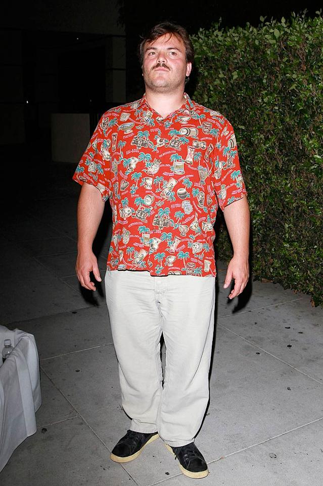 "Hopefully Jack Black was attending a ""Magnum, P.I."" party when he decided to don this Hawaiian shirt and creepy 'stache. Anthony/<a href=""http://www. PacificCoastNews.com"" target=""new"">PacificCoastNews.com</a> - September 6, 2010"