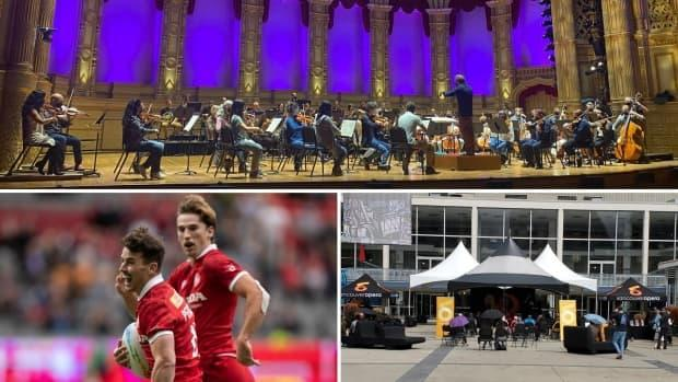 Marquee sports and arts events returned to Vancouver on Saturday Sept. 18, with reduced capacities and spectators requiring to provide proof of vaccination. From top, going clockwise, the Vancouver Symphony Orchestra, an outdoor set of the Vancouver Opera, and the Canadian men's rugby sevens team. (Janella Hamilton/CBC, Tom Wright/Vancouver Opera, Darryl Dyck/The Canadian Press - image credit)