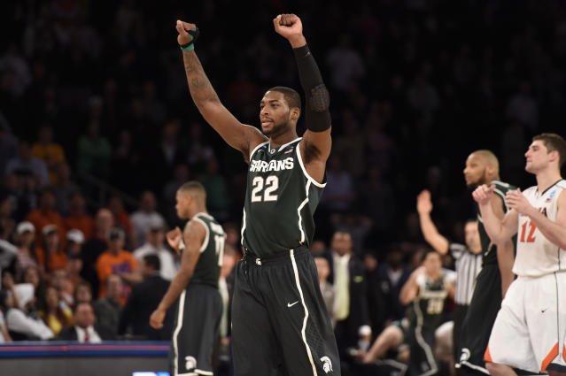 Branden Dawson and Adreian Payne lead Michigan State past Virginia 61-59