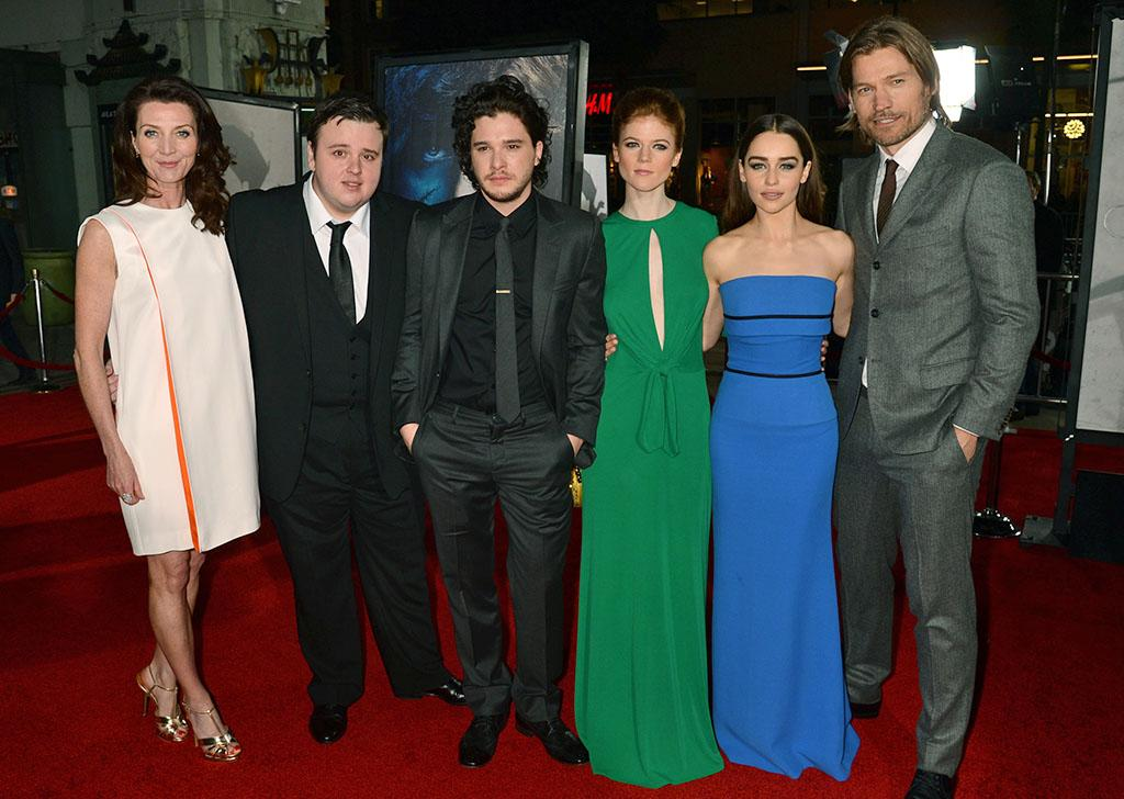"Michelle Fairley, John Bradley, Kit Harington, Rose Leslie, Emilia Clarke, and Nikolaj Coster-Waldau arrive at the premiere of HBO's ""Game of Thrones"" Season 3 at TCL Chinese Theatre on March 18, 2013 in Hollywood, California."