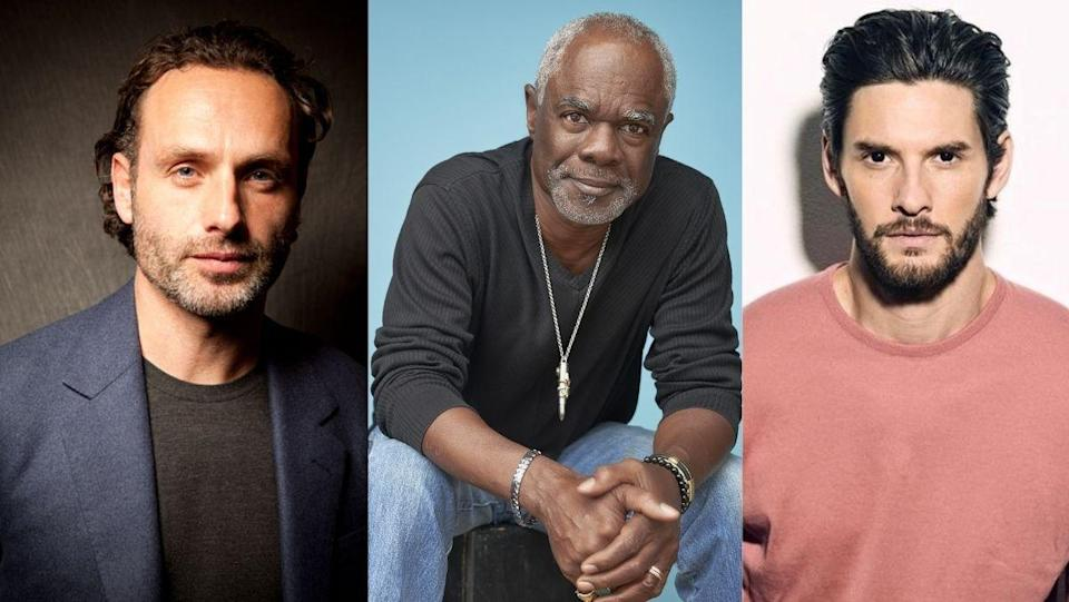 a collage of actors andrew lincoln, ben barnes, and glynn turman who star in Guillermo Del Toro's Cabinet of Curiosities