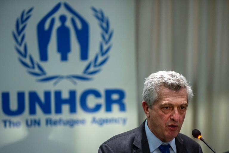 UN High Commissioner for Refugees Filippo Grandi speaks during a press conference in Athens on November 28
