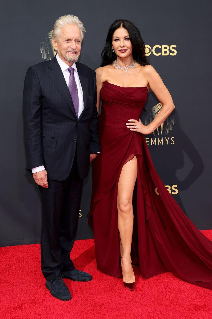 """<p>The Oscar-winning pair arrived at the 2021 Emmy Awards to celebrate Douglas's nomination for his role in Netflix's """"The Kominsky Method."""" <em>(Image via Getty Images)</em></p>"""