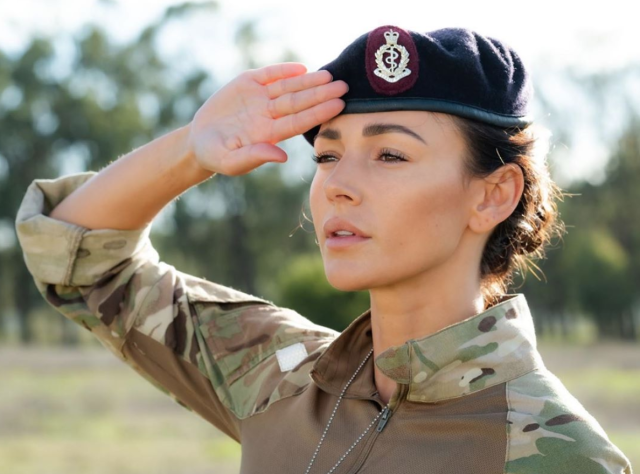 Michelle Keegan in character on set of Our Girl (BBC)