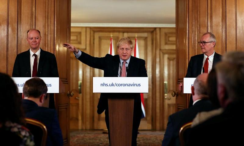 Chris Whitty, Boris Johnson and Patrick Vallance during a press conference in July.