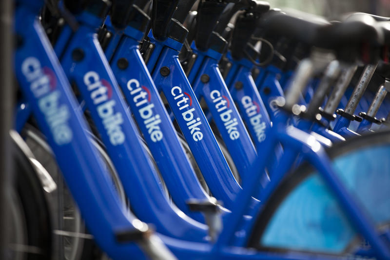 A row of Citibikes stationed at downtown bike-sharing location in New York City. (Ramin Talaie via Getty Images)