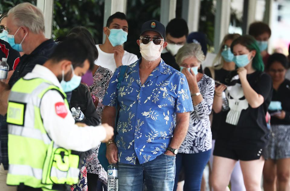 People line up to be tested at the Gold Coast University Hospital testing centre on the Gold Coast, Wednesday, March 31, 2021.