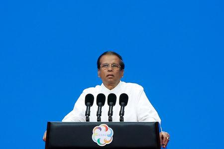 FILE PHOTO: Sri Lankan President Maithripala Sirisena speaks at the Conference on Dialogue of Asian Civilizations in Beijing