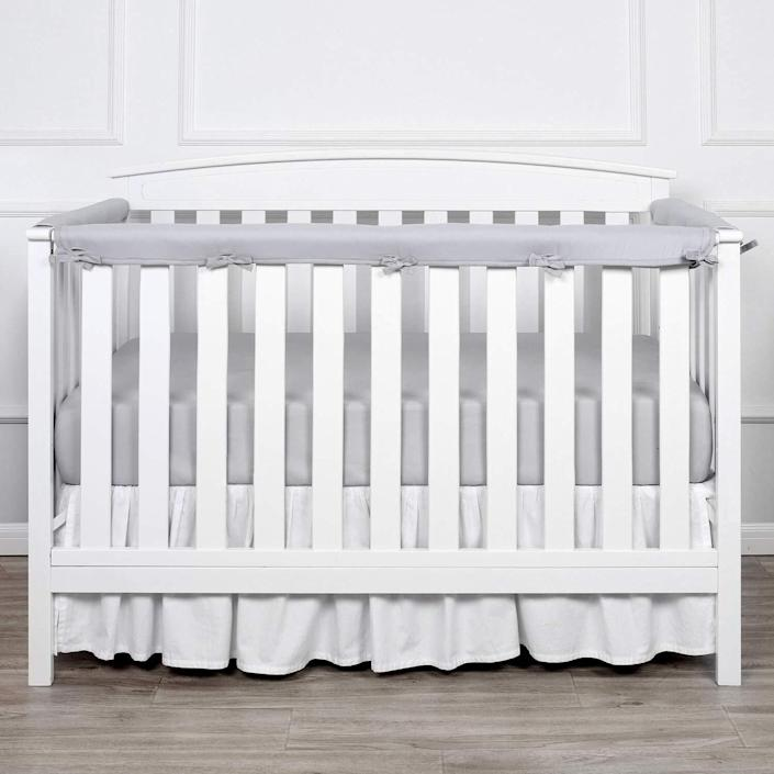 """It'llprotect your baby from bonks and keep your rail from being eaten alive when teething begins.<br /><br /><strong>Promising review:</strong>""""My husband and I absolutely love this product! More importantly, our teething 10-month-old does too.<strong>It adds character to the crib and gives the protection we were looking for.</strong>It's a great addition to our crib! This is an awesome product!"""" —<a href=""""https://www.amazon.com/gp/customer-reviews/R2R14OU81NSUWQ?&linkCode=ll2&tag=huffpost-bfsyndication-20&linkId=65096d5f92609f976b78b1daddcbc29b&language=en_US&ref_=as_li_ss_tl"""" target=""""_blank"""" rel=""""noopener noreferrer"""">Amazon Customer</a><br /><br /><strong><a href=""""https://www.amazon.com/dp/B07GN21K81?&linkCode=ll1&tag=huffpost-bfsyndication-20&linkId=7438235b4a4ede5a1b18c7ebe9578b50&language=en_US&ref_=as_li_ss_tl"""" target=""""_blank"""" rel=""""noopener noreferrer"""">Get it from Amazon for $15.99+ (available in nine styles).</a></strong>"""