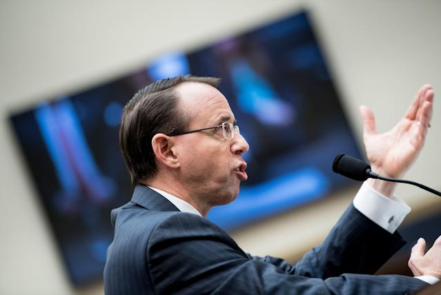 Deputy Attorney General Rod Rosenstein speaks at a hearing of the House Judiciary Committee on Oversight on Capitol Hill in December 2017 in Washington, D.C. (Photo: Brendan Smialowski/AFP/Getty Images)
