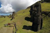 """Statues named """"Moai"""" are seen on a hill at Easter Island, Chile February 1, 2019. REUTERS/Jorge Vega/Files"""