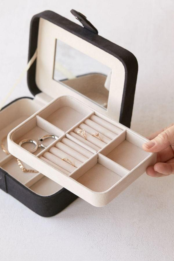 <p>Keep all your trinkets safe with this <span>Mele &amp; Co. Giana Flocked Travel Jewelry Box</span> ($26, originally $35).</p>