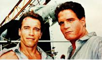 <p>So committed was stuntman Billy Lucas to representing Arnie properly that he even wore a facial prosthetic to make them look more similar, which you can see in the picture, taken on the set of 1994's 'True Lies'.</p>