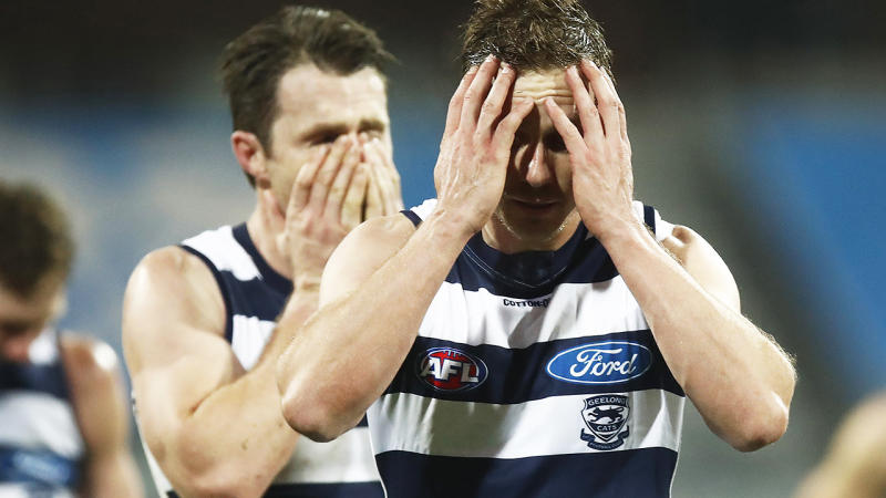 Geelong players, pictured here after their clash with Melbourne Demons.
