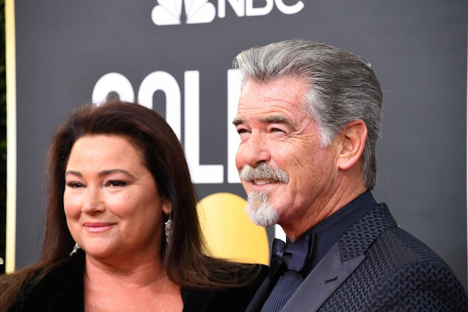Pierce Brosnan has shared a touching tribute to his wife Keely Shaye Smith to mark her birthday, pictured at the Golden Globe Awards in January, 2020. (Getty Images)