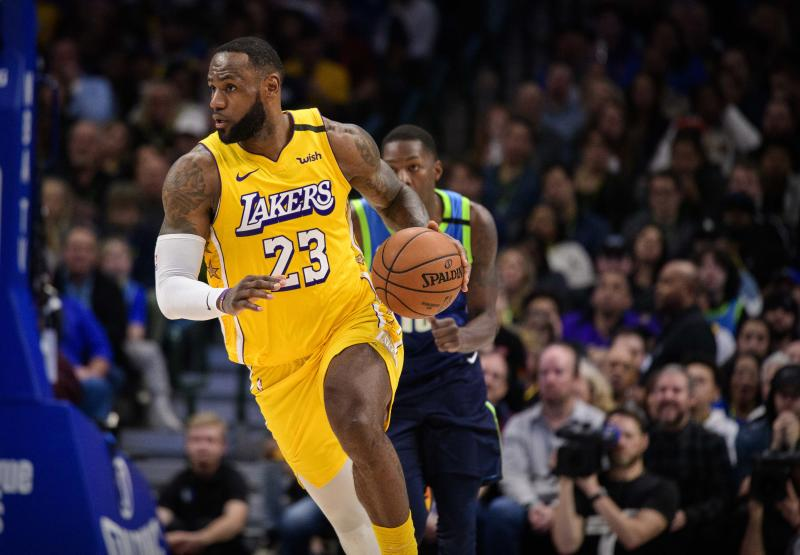 Jan 10, 2020; Dallas, Texas, USA; Los Angeles Lakers forward LeBron James (23) in action during the game between the Mavericks and the Lakers at the American Airlines Center. Mandatory Credit: Jerome Miron-USA TODAY Sports