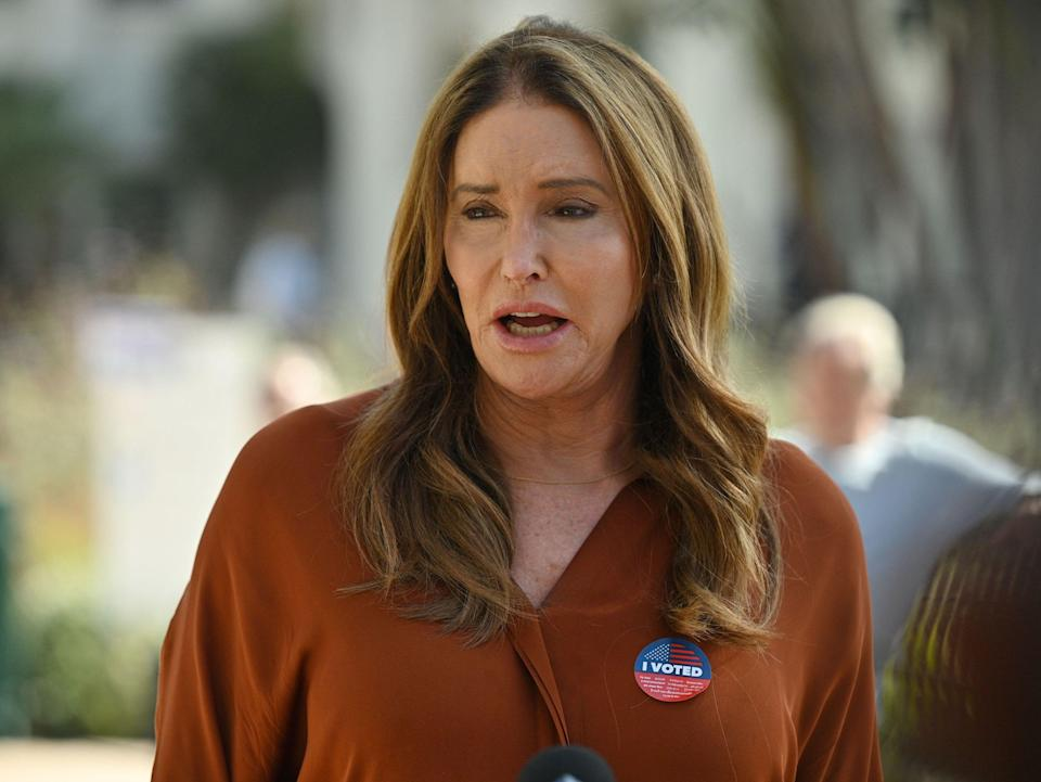 Candidate Caitlyn Jenner speaks to the media after casting her ballot in the California gubernatorial recall election at a polling station at a polling station in Beverly Hills, California, September 14, 2021 (AFP via Getty Images)