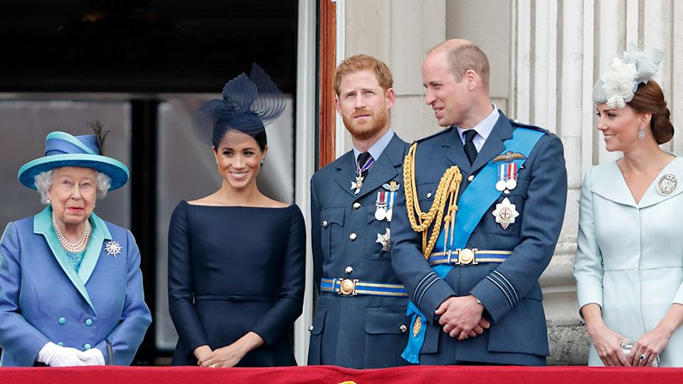 The Queen, Meghan Markle, Prince Harry, Prince William and Kate Middleton