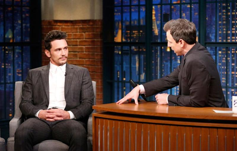 James Franco, here on Late Night with Seth Meyers, did not attend the Critics' Choice Awards amid the sexual misconduct allegations against him. Source: Getty