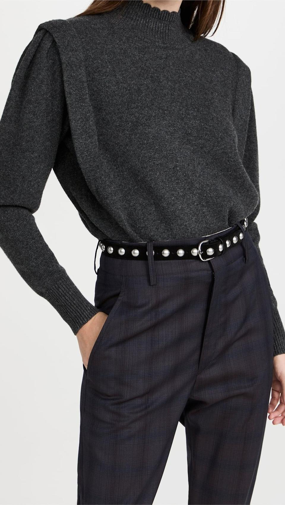 <p>We love everything about this <span>Isabel Marant Etoile Lucile Sweater</span> ($495), and we think they will too. Everything from the statement shoulder to the scalloped mock neck is a winner in our book.</p>