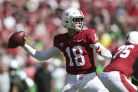 Stanford's Tanner McKee throws a pass during the first half of an NCAA college football game against Oregon in Stanford, Calif., Saturday, Oct. 2, 2021. (AP Photo/Jed Jacobsohn)