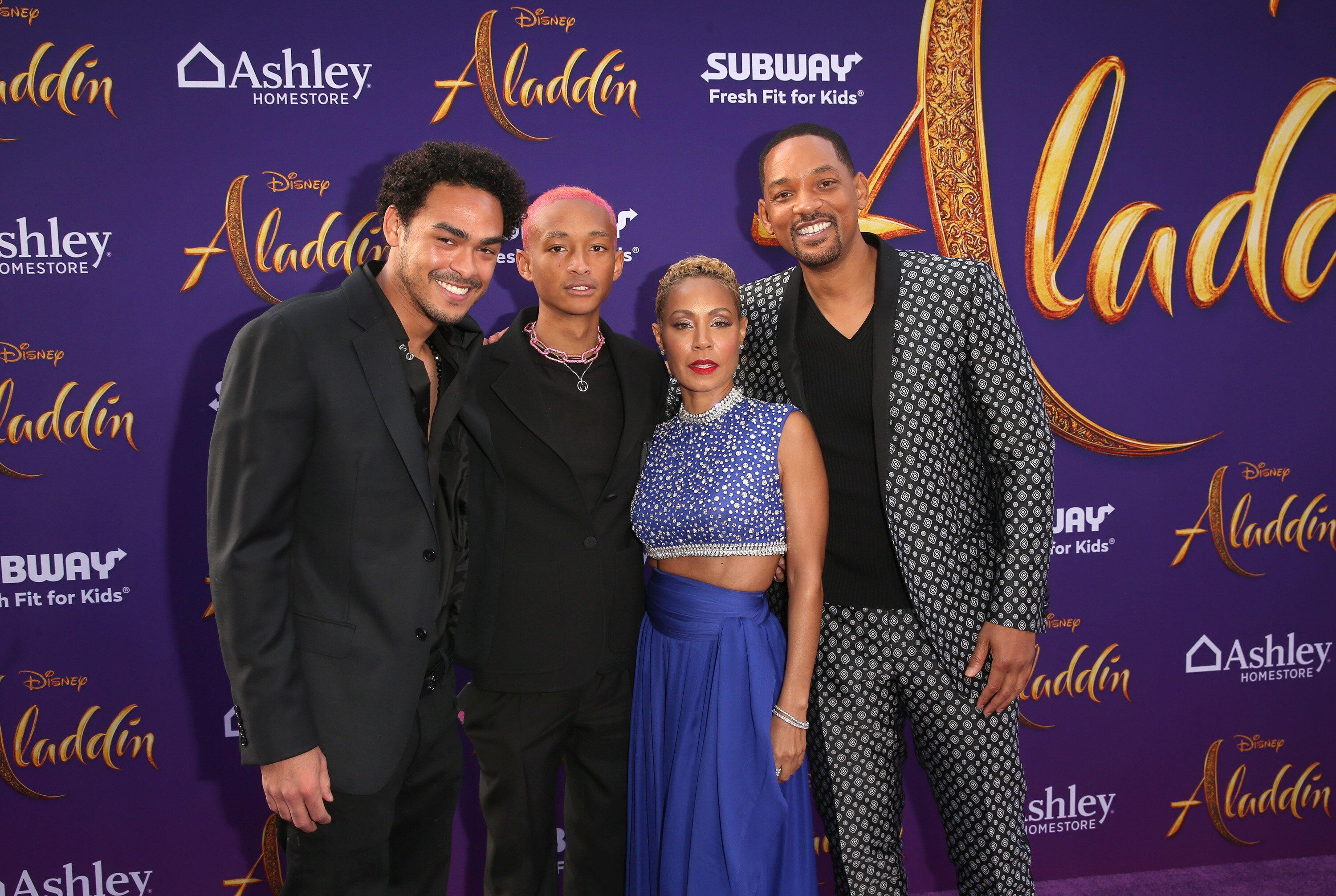 Trey Smith (far left), Jaden Smith (left) Will Smith and Jada Pinkett Smith (far right) at the 'Aladdin' premiere at El Capitan Theatre in Hollywood. [Photo: Getty]