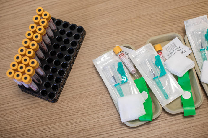 Equipment used to take blood samples sits on a table at a antibody testing program. (AP)