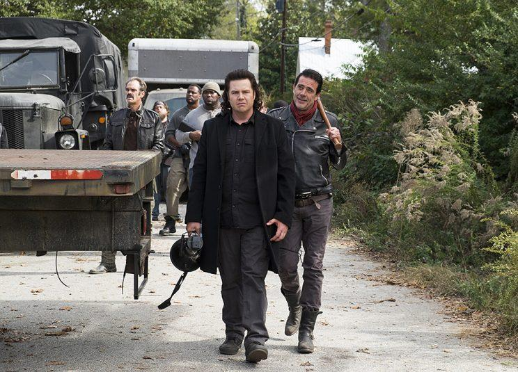 Steven Ogg as Simon, Josh McDermitt as Dr. Eugene Porter and Jeffrey Dean Morgan as Negan in AMC's The Walking Dead . (Photo Credit: Gene Page/AMC)
