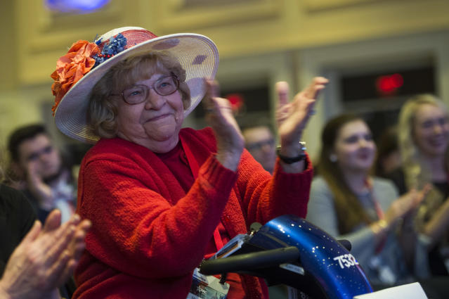 <p>Martha Stamp applauds Vice President Mike Pence during the Conservative Political Action Conference at the Gaylord National Resort in Oxon Hill, Md., on Feb. 22, 2018. (Photo: Tom Williams/CQ Roll Call/Getty Images) </p>
