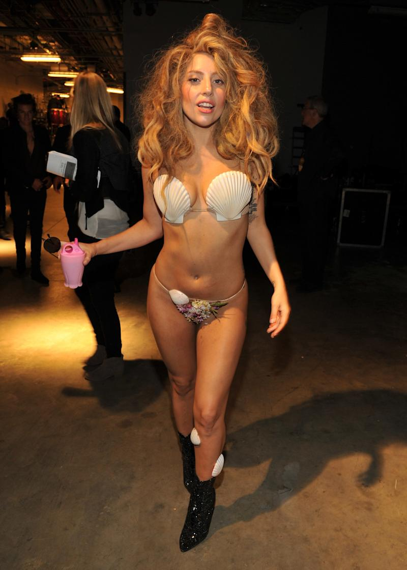 Channeling a rave-disco incarnation of Botticelli's Venus at the VMAs.