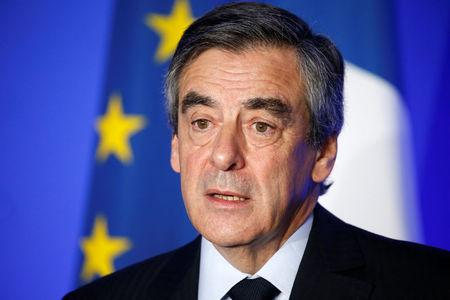 Francois Fillon, 2017 presidential election candidate attends a news conference at his campaign headquarters in Paris