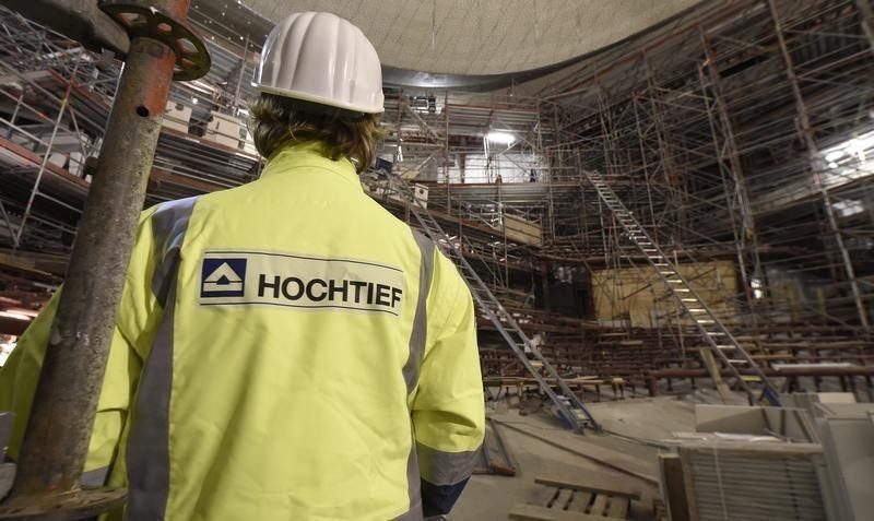 A worker of German company Hochtief stands in the audience hall at the construction side of the Elbphilharmonie (Philharmonic Hall) in Hamburg