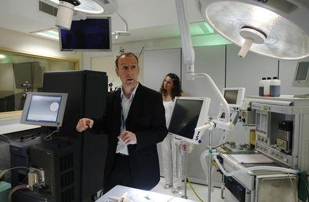 Inventor of the Intelligent Knife Zoltan Takats speaks to the media at St Mary's Hospital in London