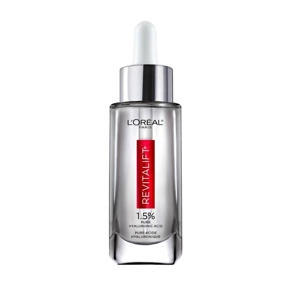 """Viola Davis also has an affordable favorite: this deeply hydrating serum. """"I'm a skin-care fanatic,"""" the 55-year-old <a href=""""https://www.purewow.com/beauty/viola-davis-skincare-routine"""" rel=""""nofollow noopener"""" target=""""_blank"""" data-ylk=""""slk:told Pure Wow"""" class=""""link rapid-noclick-resp"""">told Pure Wow</a>. """"My favorite product from the L'Oréal Paris' Derm Intensives skin-care line is the <a href=""""https://www.google.com/search?q=hyaluronic+acid+serum+loreal&oq=Hyaluronic+Acid+Serum+&aqs=chrome.1.69i57j0l7.1737j0j7&sourceid=chrome&ie=UTF-8"""" rel=""""nofollow noopener"""" target=""""_blank"""" data-ylk=""""slk:Hyaluronic Acid Serum"""" class=""""link rapid-noclick-resp"""">Hyaluronic Acid Serum</a>, which I use in the morning after I cleanse. I love using a lightweight serum under a moisturizer for extra hydration. My skin feels plumped and I look well-rested."""" $30, L'Oréal. <a href=""""https://shop-links.co/1737017625249762132"""" rel=""""nofollow noopener"""" target=""""_blank"""" data-ylk=""""slk:Get it now!"""" class=""""link rapid-noclick-resp"""">Get it now!</a>"""